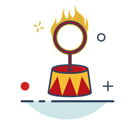 Carnival Icon | Fire Ring Circus Icon - with Outline Filled Style