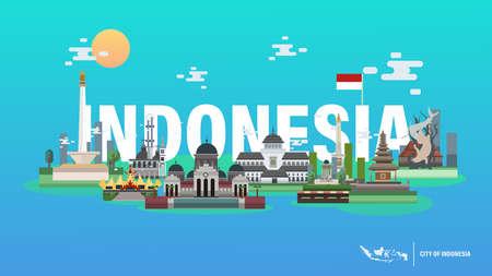 City of Indonesia Vector Illustration - Jakarta Yogyakarta Bali Aceh Pontianak Bandung Lampung Surabaya Bangka Belitung Illusztráció
