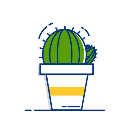 Gardening icon set | Cactus icon - with Outline Filled Style 向量圖像