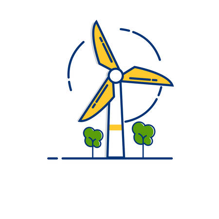 Gardening icon set | Wind Power icon - with Outline Filled Style 向量圖像