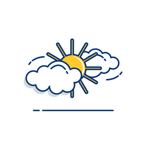 Gardening icon set | Bright Clouds Icon - with Outline Filled Style 向量圖像