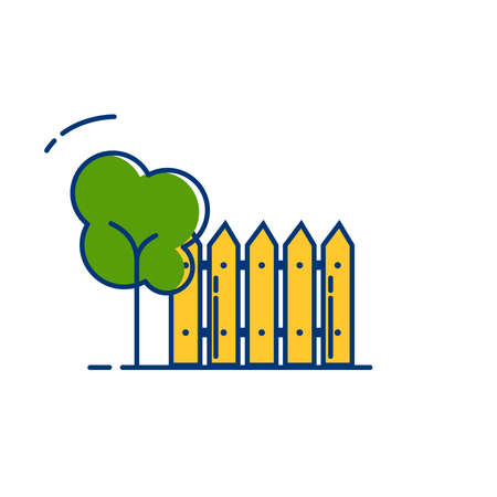 Gardening icon set | Fence icon - with Outline Filled Style