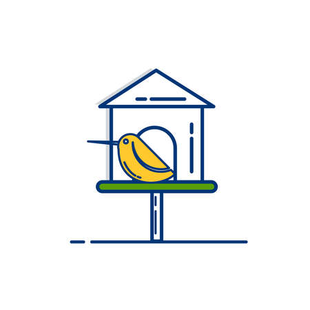 Gardening icon set | Bird House Icon - with Outline Filled Style 向量圖像