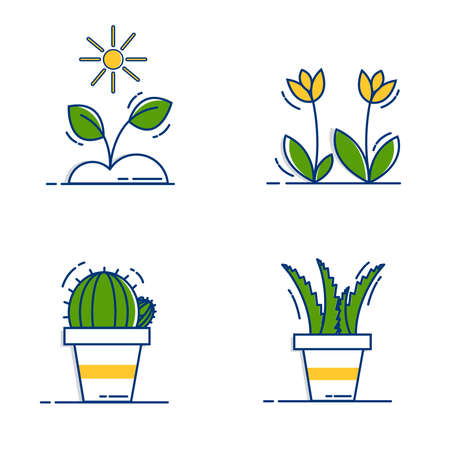 Gardening Icons Set with Outline Filled Style Illustration