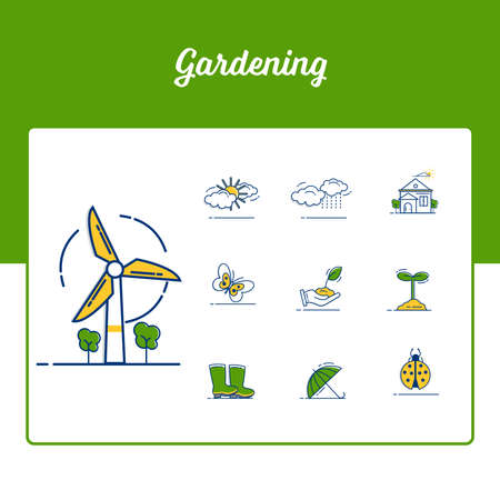 Gardening Icons Set - garden flower and spring icon set with Outline Filled Style