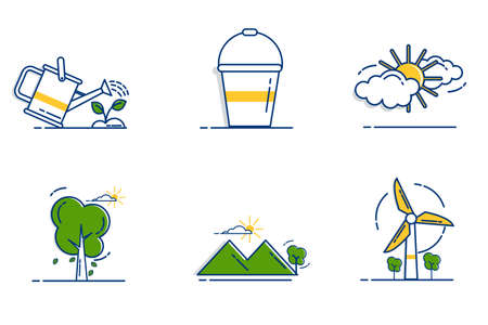 Gardening Icons Set with Outline Filled Style 向量圖像