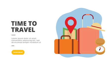 Time To Travel flat design banner illustration concept for digital marketing and business promotion