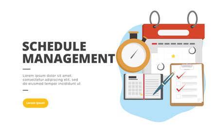 Schedule Management flat design banner illustration concept for digital marketing and business promotion 向量圖像