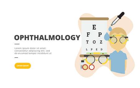 Ophthalmology flat design banner illustration concept for digital marketing and business promotion