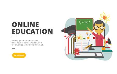 Online Education flat design banner illustration concept for digital marketing and business promotion 向量圖像
