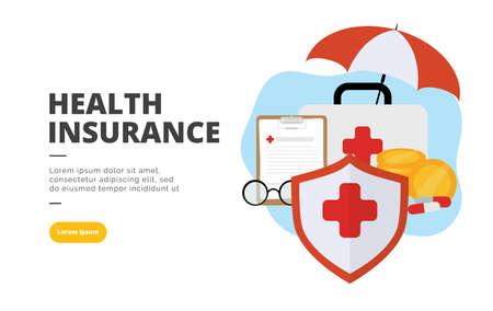 Health Insurance flat design banner illustration concept for digital marketing and business promotion