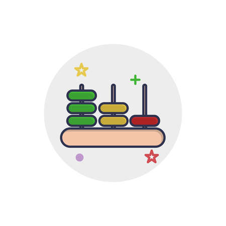 Viga Counting icon | Children Toys - with Outline Filled Style