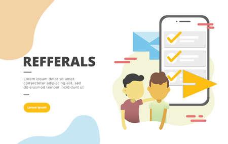 Concepto de ilustración de banner de diseño plano de marketing de referencia para marketing digital y promoción empresarial