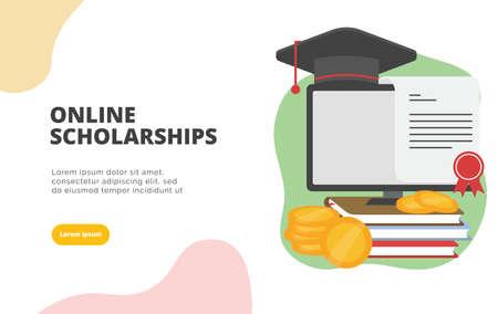 Concepto de ilustración de banner de diseño plano de becas en línea para marketing digital y promoción empresarial