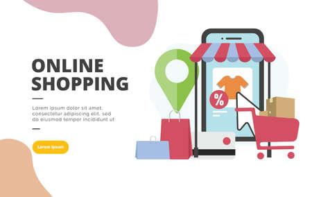 Online Shopping flat design banner illustration concept for digital marketing and business promotion
