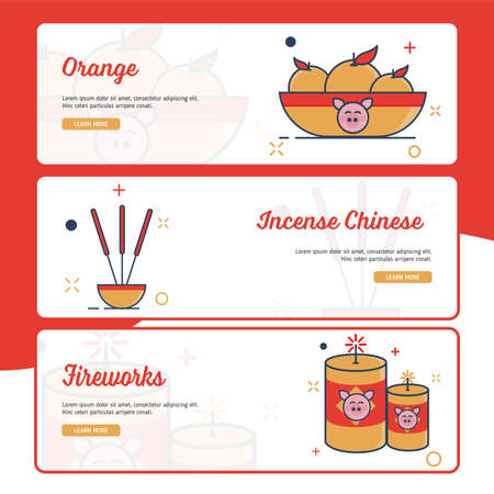Banner Design Chinese New Year with Outline Filled Style