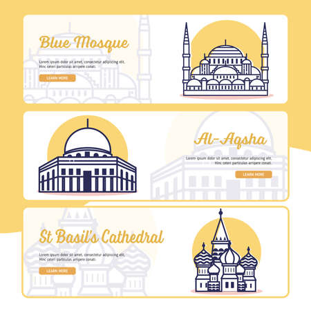 Travel and Destination Banner Collection with Outline Filled Style