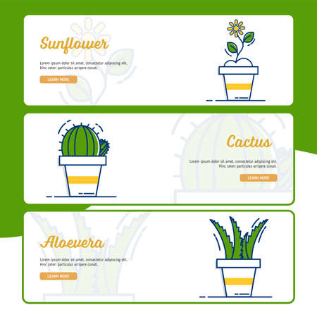 Gardening Banner Collection with Outline Filled Style 向量圖像
