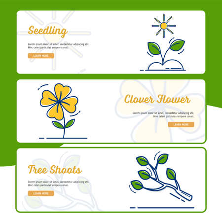 Gardening Banner Collection with Outline Filled Style Illustration