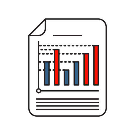 Coloumn Chart icon | Business and Finance - with Outline Filled Style