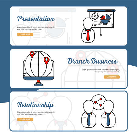 Business and Finance Banner Collection with Outline Filled Style Illustration