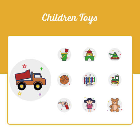 Children Toys Icons Set - Toy and Doll Icon Set With Outline Filled Style Illustration