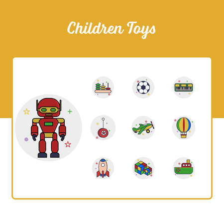Children Toys Icons Set - Toy and Doll Icon Set With Outline Filled Style Stock Illustratie