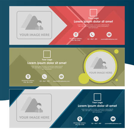 Set of Banner Tamplate with Abstract Shapes - Universal and Multipurpose Template for a website, promotion and marketing elements. Stock Illustratie