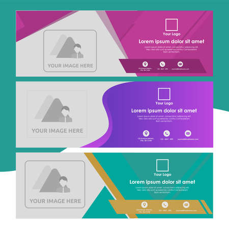 Set of Banner Tamplate with Abstract Shapes - Universal and Multipurpose Template for a website, promotion and marketing elements. Illustration