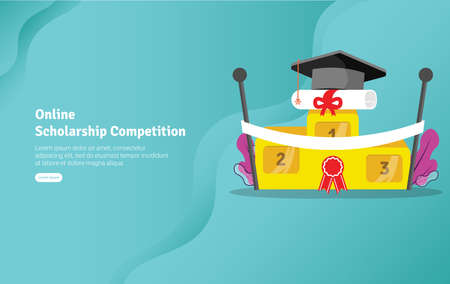 Online Scholarship Concept Educational and Scientific Illustration Banner, Suitable For Wallpaper, Banner, Background, Card, Book Illustration or Web Landing Page, and use for marketing, business or promotion Archivio Fotografico - 125051002