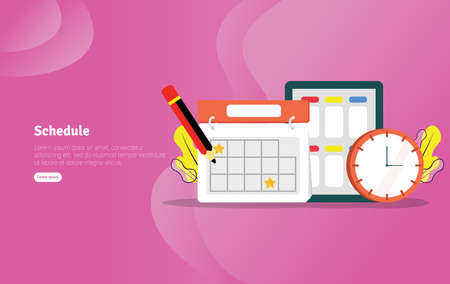 Schedule learn Concept Educational and Scientific Illustration Banner, Suitable For Wallpaper, Banner, Background, Card, Book Illustration or Web Landing Page, and use for marketing, business or promotion