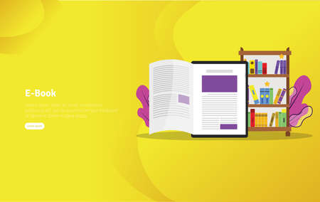 Educational E-book Concept and Scientific Illustration Banner, Suitable For Wallpaper, Banner, Background, Card, Book Illustration or Web Landing Page, and use for marketing, business or promotion Archivio Fotografico - 125051005