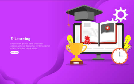 Educational E-Learning Concept and Scientific Illustration Banner, Suitable For Wallpaper, Banner, Background, Card, Book Illustration or Web Landing Page, and use for marketing, business or promotion Archivio Fotografico - 125051006