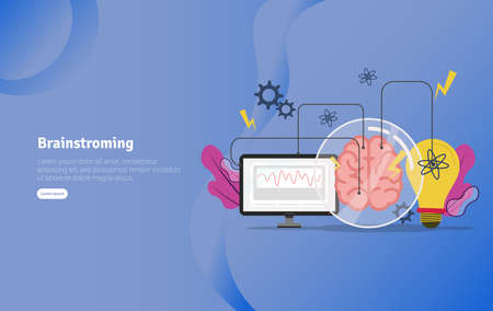 Brainstroming Concept Educational and Scientific Illustration Banner, Suitable For Wallpaper, Banner, Background, Card, Book Illustration or Web Landing Page, and use for marketing, business or promotion Stock Illustratie