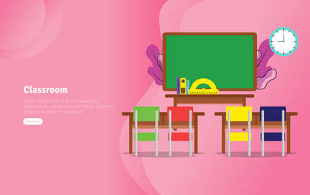 Classsroom Concept Educational and Scientific Illustration Banner, Suitable For Wallpaper, Banner, Background, Card, Book Illustration or Web Landing Page, and use for marketing, business or promotion Stock Illustratie