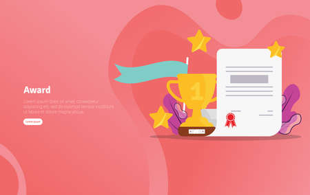 Award School Concept Educational and Scientific Illustration Banner, Suitable For Wallpaper, Banner, Background, Card, Book Illustration or Web Landing Page, and use for marketing, business or promotion