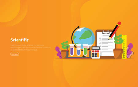 Scientific Concept Educational and Scientific Illustration Banner, Suitable For Wallpaper, Banner, Background, Card, Book Illustration or Web Landing Page, and use for marketing, business or promotion