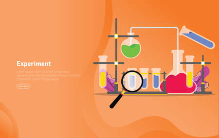 Experiment Concept Educational and Scientific Illustration Banner, Suitable For Wallpaper, Banner, Background, Card, Book Illustration or Web Landing Page, and use for marketing, business or promotion