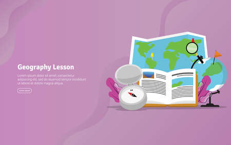 Geography Lesson Concept Educational and Scientific Illustration Banner, Suitable For Wallpaper, Banner, Background, Card, Book Illustration or Web Landing Page, and use for marketing, business or promotion