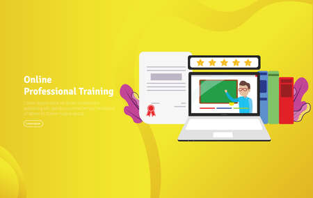 Online Professional Training Concept Educational and Scientific Illustration Banner, Suitable For Wallpaper, Banner, Background, Card, Book Illustration or Web Landing Page, and use for marketing, business or promotion