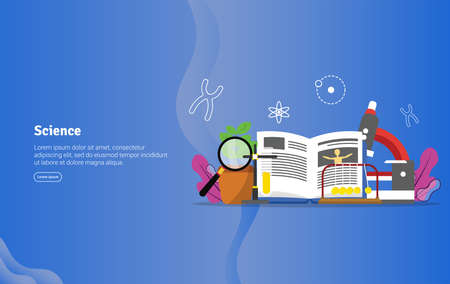 Science Concept Educational and Scientific Illustration Banner, Suitable For Wallpaper, Banner, Background, Card, Book Illustration or Web Landing Page, and use for marketing, business or promotion Illustration
