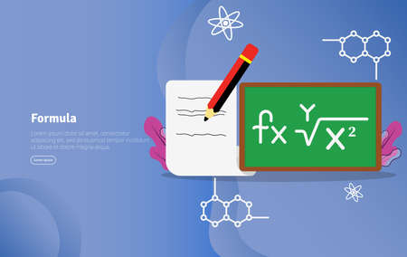 Formula Concept Educational and Scientific Illustration Banner, Suitable For Wallpaper, Banner, Background, Card, Book Illustration or Web Landing Page, and use for marketing, business or promotion