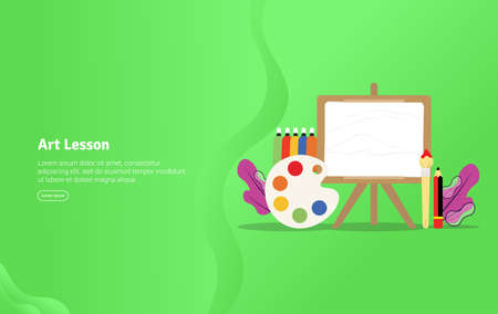 Art Lesson Concept Educational and Scientific Illustration Banner, Suitable For Wallpaper, Banner, Background, Card, Book Illustration or Web Landing Page, and use for marketing, business or promotion Stock Illustratie