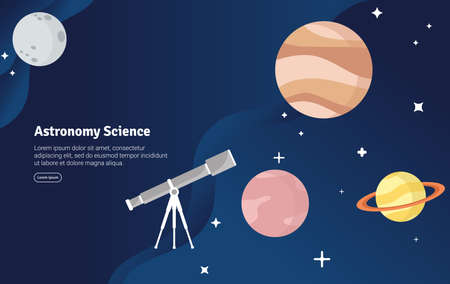 Astronmy Science Concept Educational and Scientific Illustration Banner, Suitable For Wallpaper, Banner, Background, Card, Book Illustration or Web Landing Page, and use for marketing, business or promotion