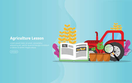 Agriculture Lesson Concept Educational and Scientific Illustration Banner, Suitable For Wallpaper, Banner, Background, Card, Book Illustration or Web Landing Page, and use for marketing, business or promotion