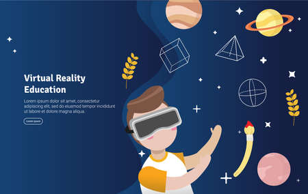 Virtual Reality Education Concept Educational and Scientific Illustration Banner, Suitable For Wallpaper, Banner, Background, Card, Book Illustration or Web Landing Page, and use for marketing, business or promotion Çizim