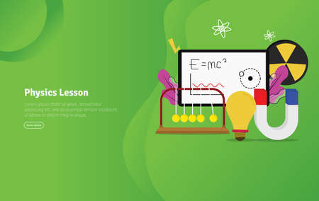 Physics Lesson Concept Educational and Scientific Illustration Banner, Suitable For Wallpaper, Banner, Background, Card, Book Illustration or Web Landing Page, and use for marketing, business or promotion