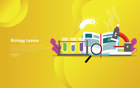 Biology Lesson Concept Educational and Scientific Illustration Banner, Suitable For Wallpaper, Banner, Background, Card, Book Illustration or Web Landing Page, and use for marketing, business or promotion