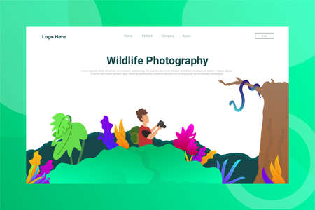 Web Page Header Widlife Photography illustration concept landing page suitable for website creative agency and digital marketing Vectores