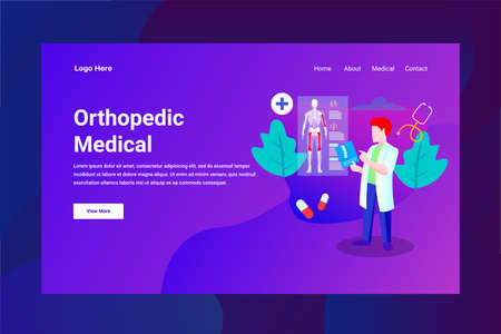Web Page Header Orthopedic Medical illustration concept landing page suitable for website creative agency and digital marketing
